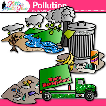 Pollution Clip Art: Earth Conservation of Land Graphics {Glitter Meets Glue}