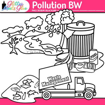 Pollution Clip Art | Conservation of Land, Water, & Air, Science Resources | B&W