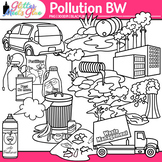 Pollution Clipart: Earth Conservation of Land Graphics B&W {Glitter Meets Glue}