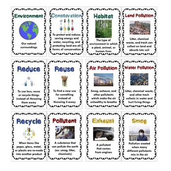 Pollution and Conservation Science Vocabulary Activities & Word Wall