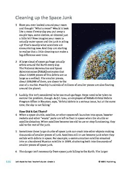 Pollution/Cleaning Up the Space Junk - Informational Text Test Prep