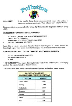 Pollution & Problems Of Environmental Concern Lesson