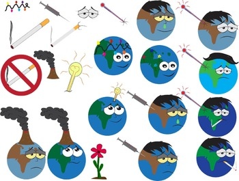 Science learning Pollution Clip art Planet cigarette flower volcano green -02-