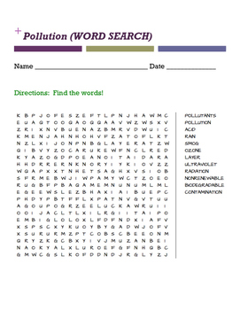 Pollution (WORD SEARCH)