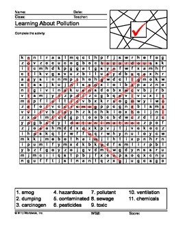 Pollution Word Search and Word Scramble Printable Worksheets