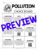 Pollution and Conservation Choice Board - Editable