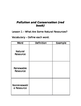 Pollution and Conservation - Harcourt Series (red book)