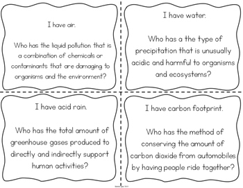 """Pollution and Conservation Interactive Vocabulary Game """"I Have, Who Has?"""" Cards"""