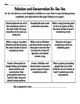 Pollution and Conservation Tic-Tac-Toe Choice Board