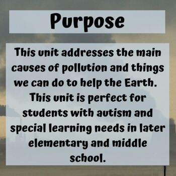 Pollution and Conservation Unit for Special Education