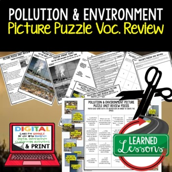 Pollution and the Environment Picture Puzzle Study Guide Test Prep