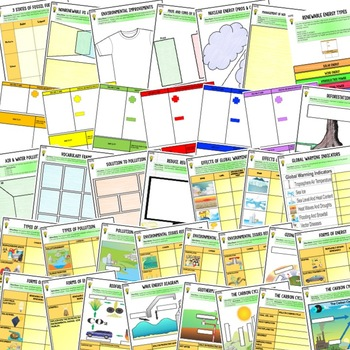 Pollution & the Environment Activities, Choice Board, Print & Digital, Google