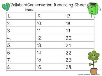 Pollution - Conservation Task / Scoot Cards & Game board