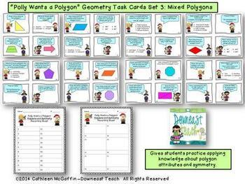 """""""Polly Wants a Polygon"""" Geometry Task Cards Bundle"""