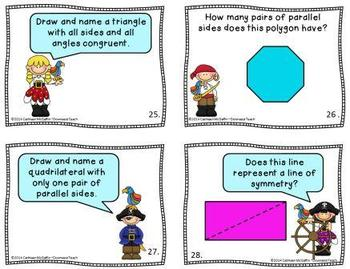 """Polly Wants a Polygon"" Geometry Task Cards Set 3: Mixed Polygons and Symmetry"