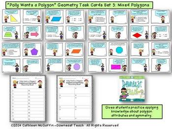 """""""Polly Wants a Polygon"""" Geometry Task Cards Set 3: Mixed P"""