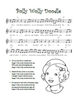 """""""Polly Wolly Doodle"""" Printable Song Sheet"""