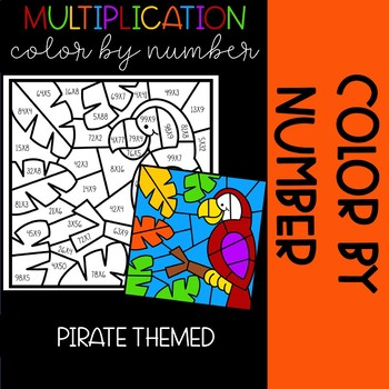 Polly the Parrot Color by Number Multiplication