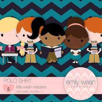 Polo Shirt - Little Readers Clip Art