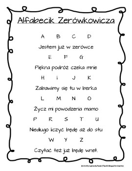 Polski Wiersz Alfabecik Zerowkowicza By Teach Bilingual Be