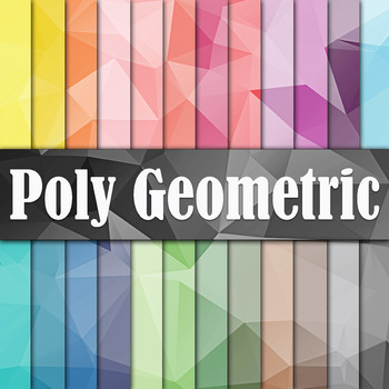 Poly Geometric Digital Paper Pack - 24 Different Papers - 12 x 12