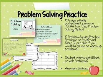 Polya's Problem Solving Lesson and Practice for 6th Grade Math