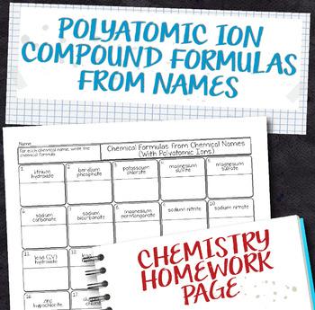Polyatomic Compound Chemical Formulas from Names Chemistry Homework Worksheet