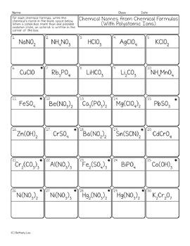 Polyatomic Compound Chemical Names from Formulas Chemistry Homework Worksheet