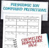 Polyatomic Ion Compound Prediction Chemistry Homework Worksheet