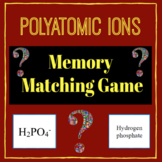 Polyatomic Ions Memory Matching Game for Chemistry!