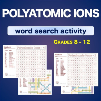 Polyatomic Ions * WordSearch * Vocabulary*