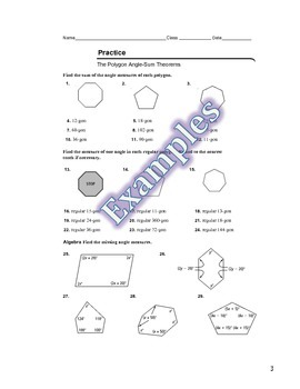 Polygon Angle Sum Th's Guided Notes, Powerpoint, and Homework