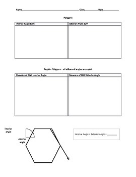 Polygon Angles Graphic Organizer
