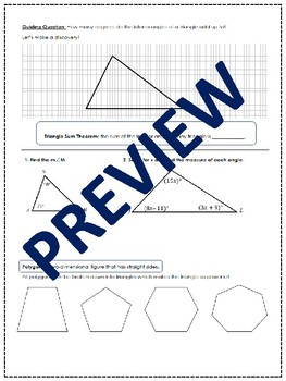 Polygon Angles & Triangle Sum Theorem PACKET: COMMON CORE CONNECTION