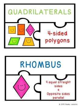 2D Shape Attributes of Polygons and Quadrilaterals Sort Game Puzzles 3.G.1