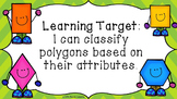 Shape Attribute Classifying Quadrilaterals & Polygons 2D Shapes PowerPoint 3.G.1