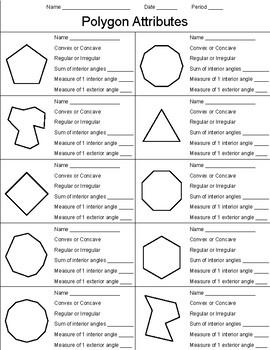 Polygon Attributes Worksheet