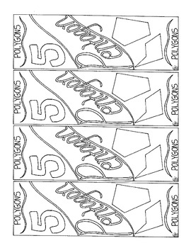 Polygon Bookmark Pentagon 5 Sided Figure Coloring Page PDF Geometry