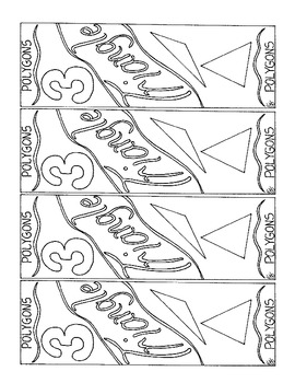 Polygon Bookmark Triangle 3 Sided Figure Coloring Page PDF Geometry