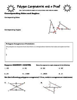 Geometry Guided Notes: Polygon Congruence and a Proof