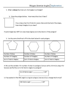 Interior Angle Sum Of Regular Polygons Teaching Resources Teachers