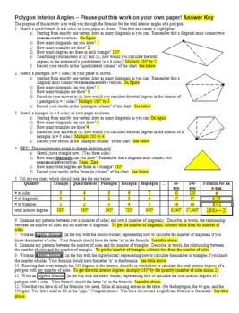 Polygon Interior Angles Activity: Discovering 180(n - 2) with Key (Editable)
