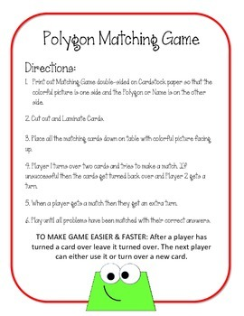 Polygon Matching Game.  Math Center Review