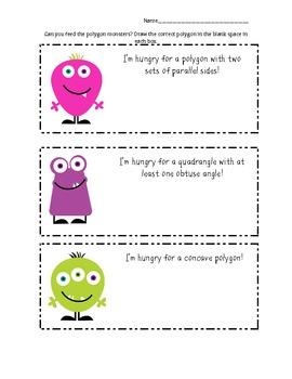 Polygon Monster Food - Math Geometry Vocabulary Activity