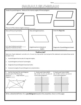 Polygons Properties Interactive Notebook Sheets for High School Geometry