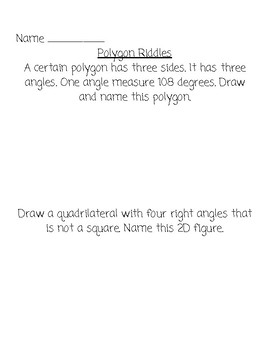 Polygon Riddles & Quadrilateral Riddles