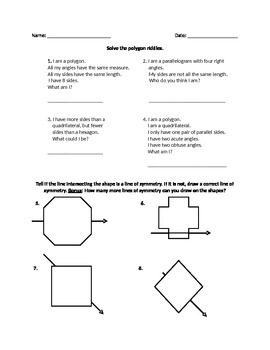 Polygon Riddles and Lines of Symmetry
