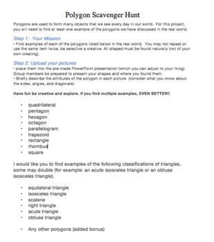 Polygon Scavenger Hunt (4th, 5th&6th grade) editable