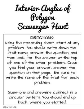Polygon Scavenger Hunt- Interior Angles