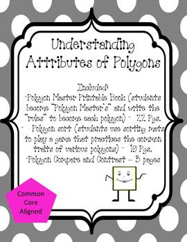 Polygon Set - 2 activities + worksheets to practice attributes of shapes